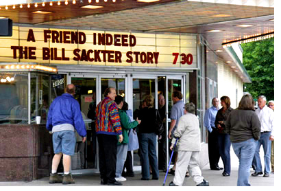 Minneapolis Premiere of A Friend Indeed - people in line outside the Riverview Theater